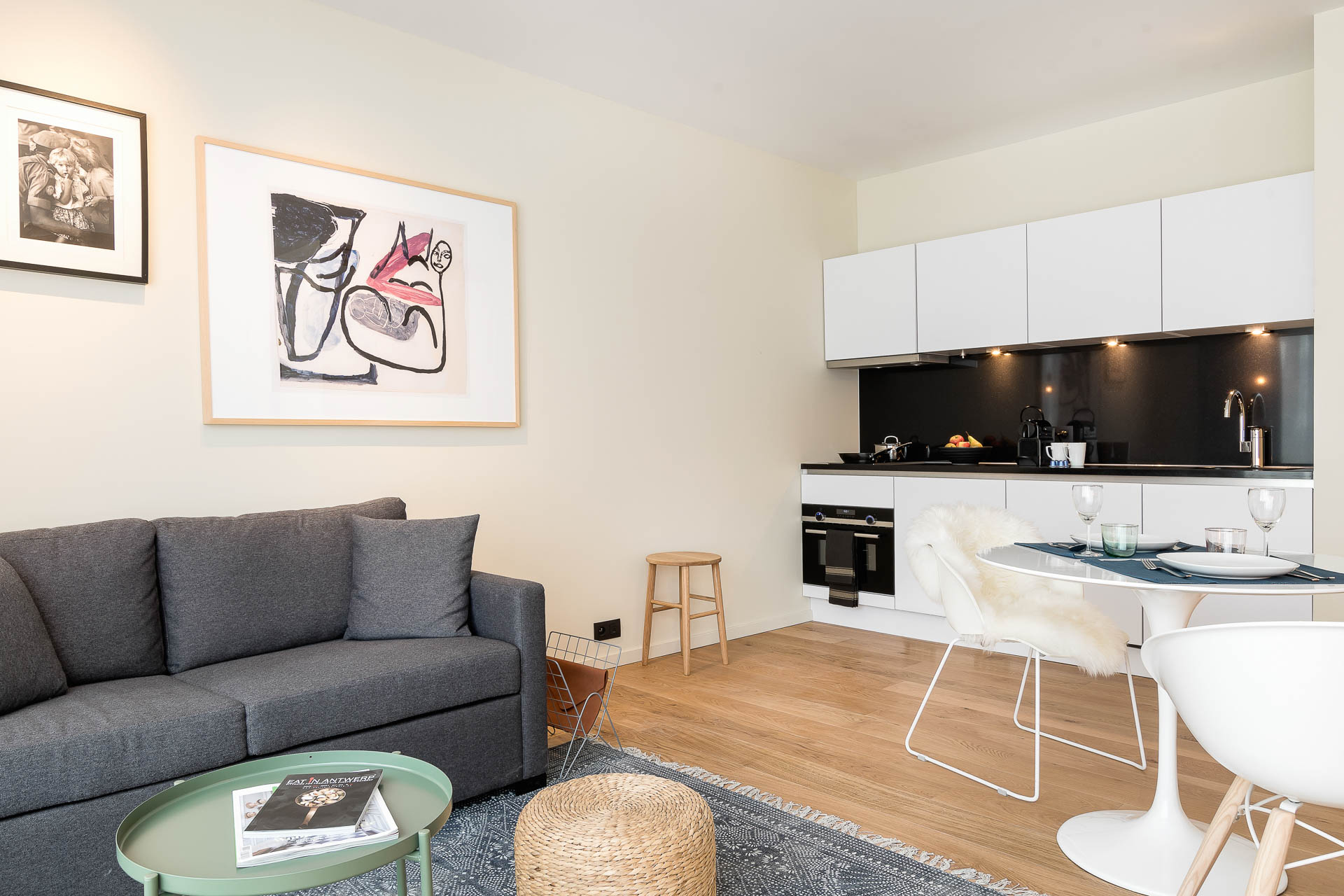 Kitchen and living area PREMIER SUITES Antwerp apartment