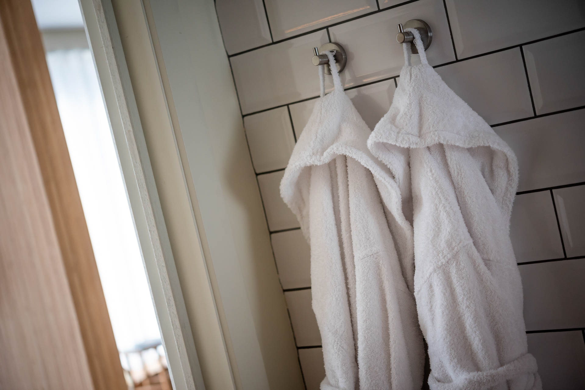 Bathrobes in the ensuite of PREMIER SUITES Antwerp